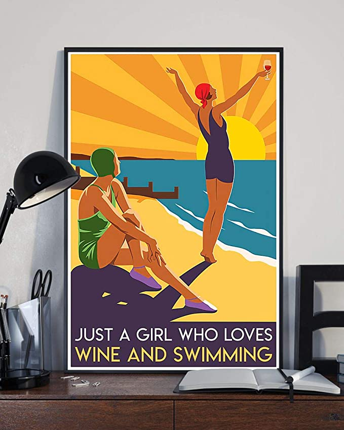 Just a girl who loves wine and swimming summer poster 1