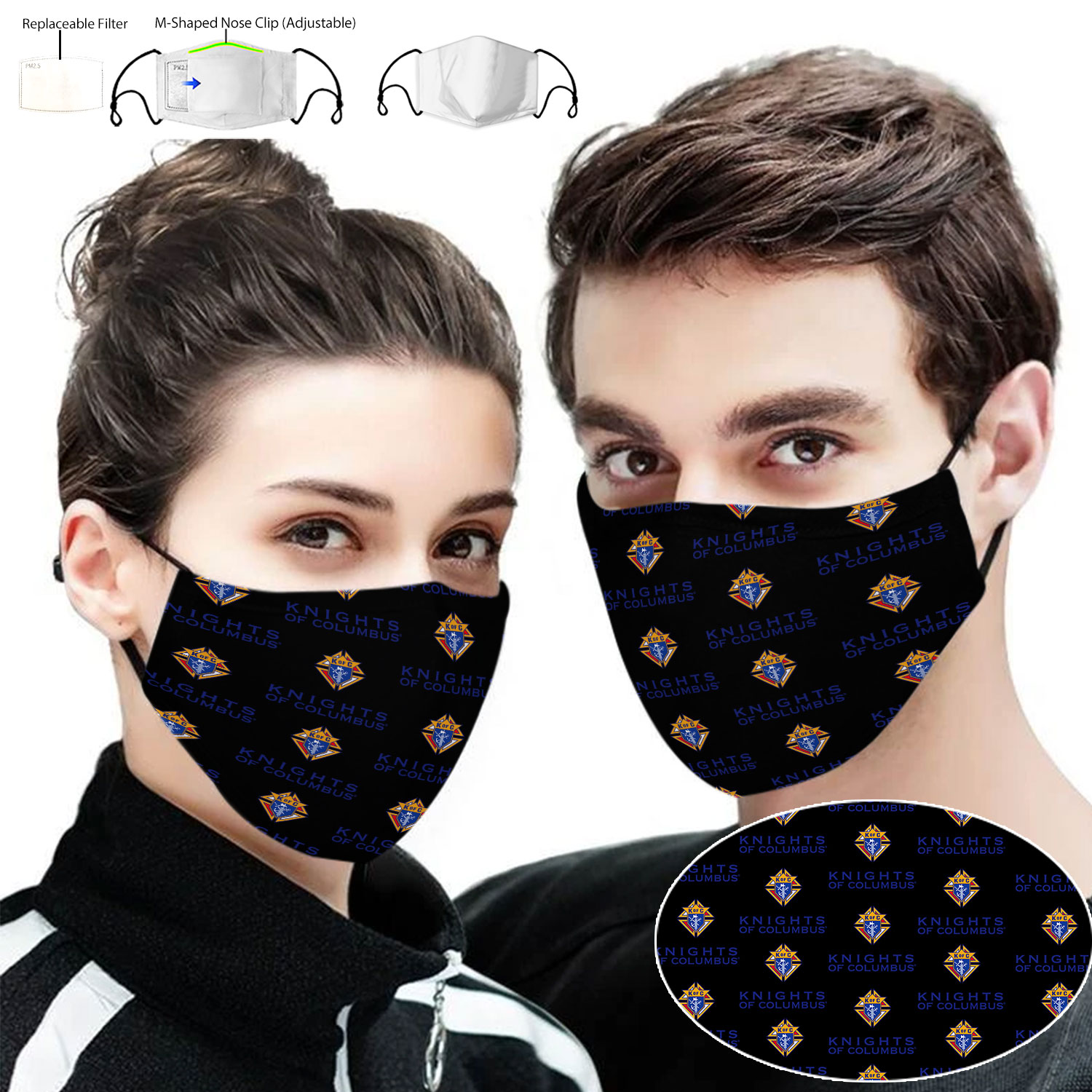 Knights of columbus full printing face mask 1