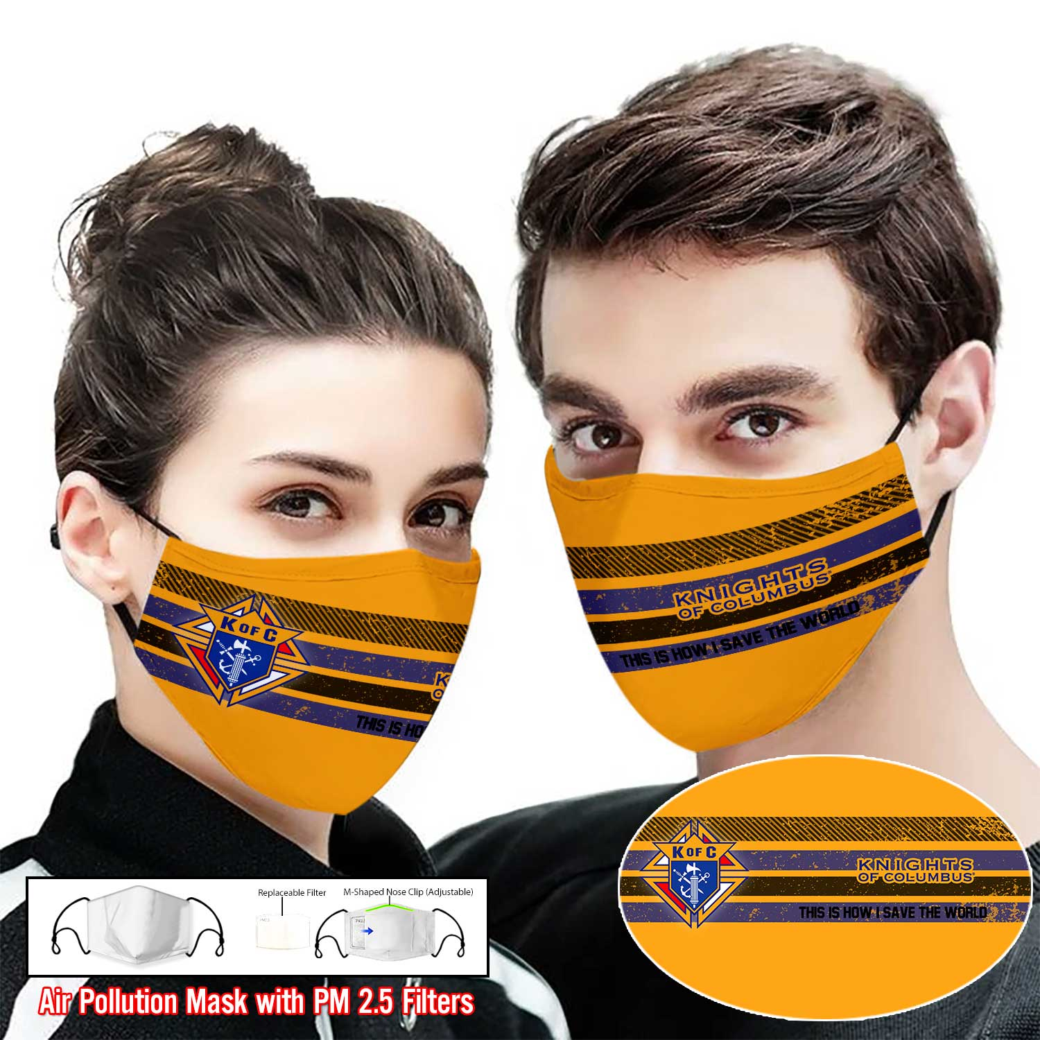 Knights of columbus this is how i save the world full printing face mask 1