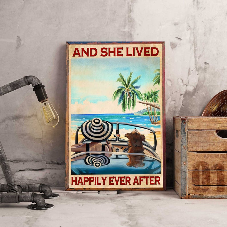 Love dogs and she lived happily ever after summer time vintage poster 1
