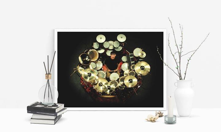 Neil peart at his kit poster 4