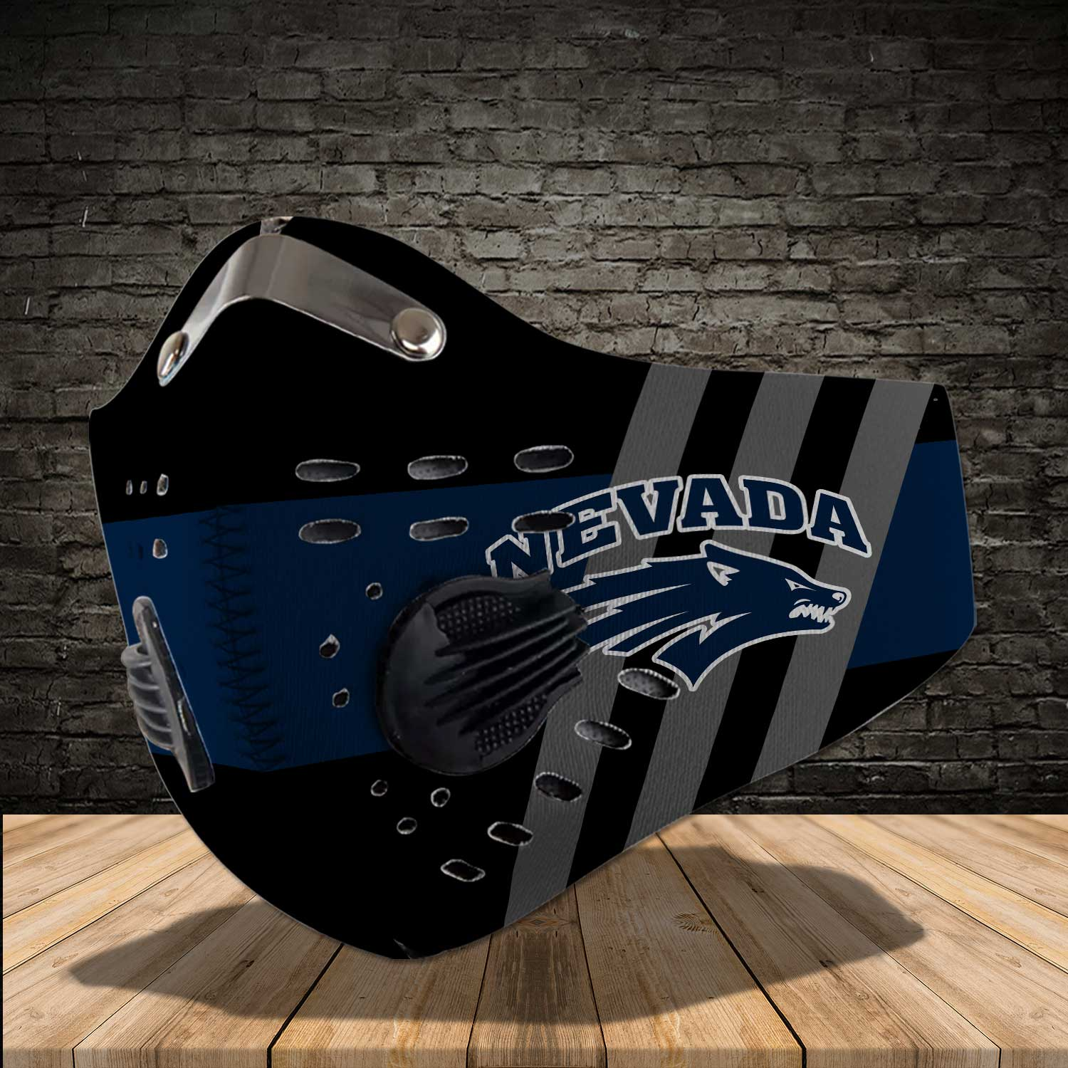 Nevada wolf pack football carbon filter face mask 2
