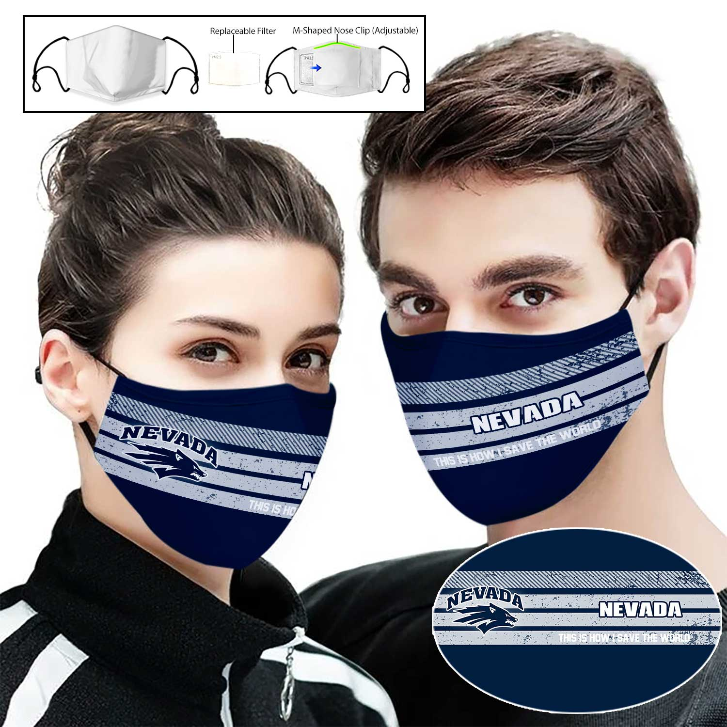Nevada wolf pack football this is how i save the world full printing face mask 2