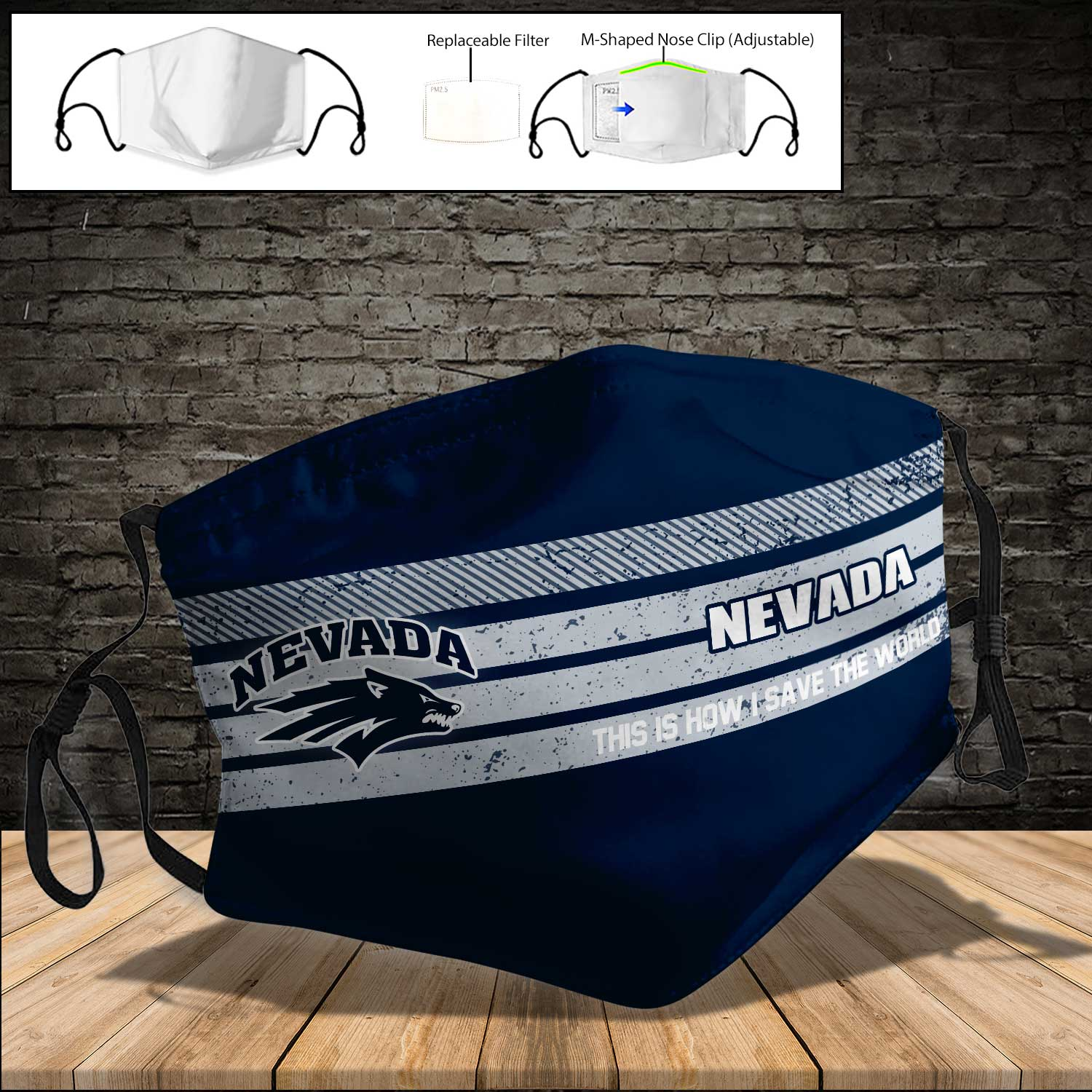 Nevada wolf pack football this is how i save the world full printing face mask 4