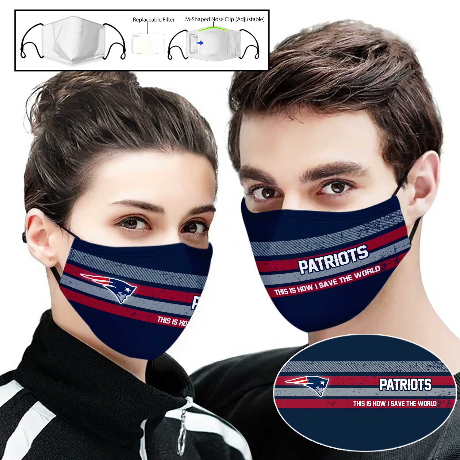 New england patriots this is how i save the world full printing face mask 2