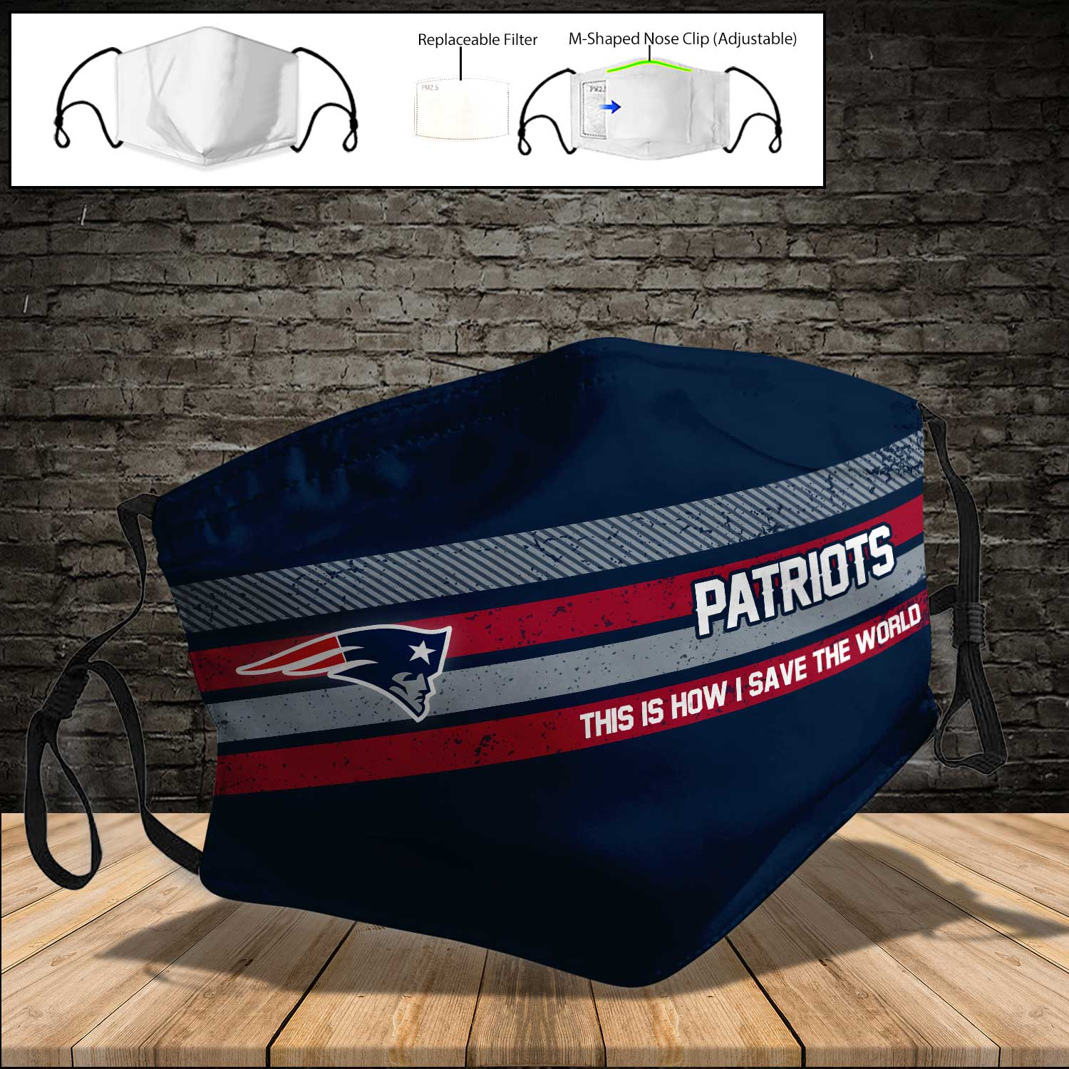 New england patriots this is how i save the world full printing face mask 3