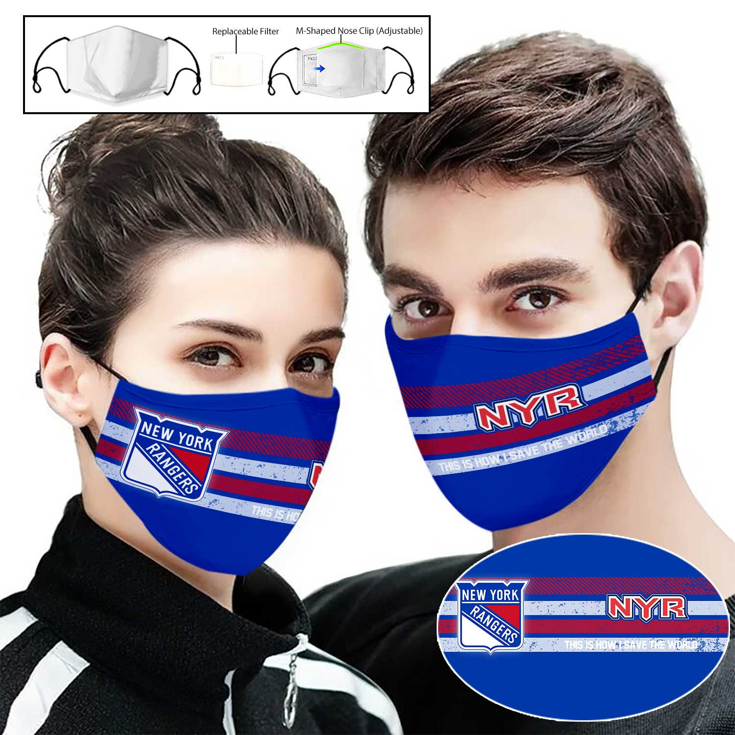 New york rangers this is how i save the world full printing face mask 2