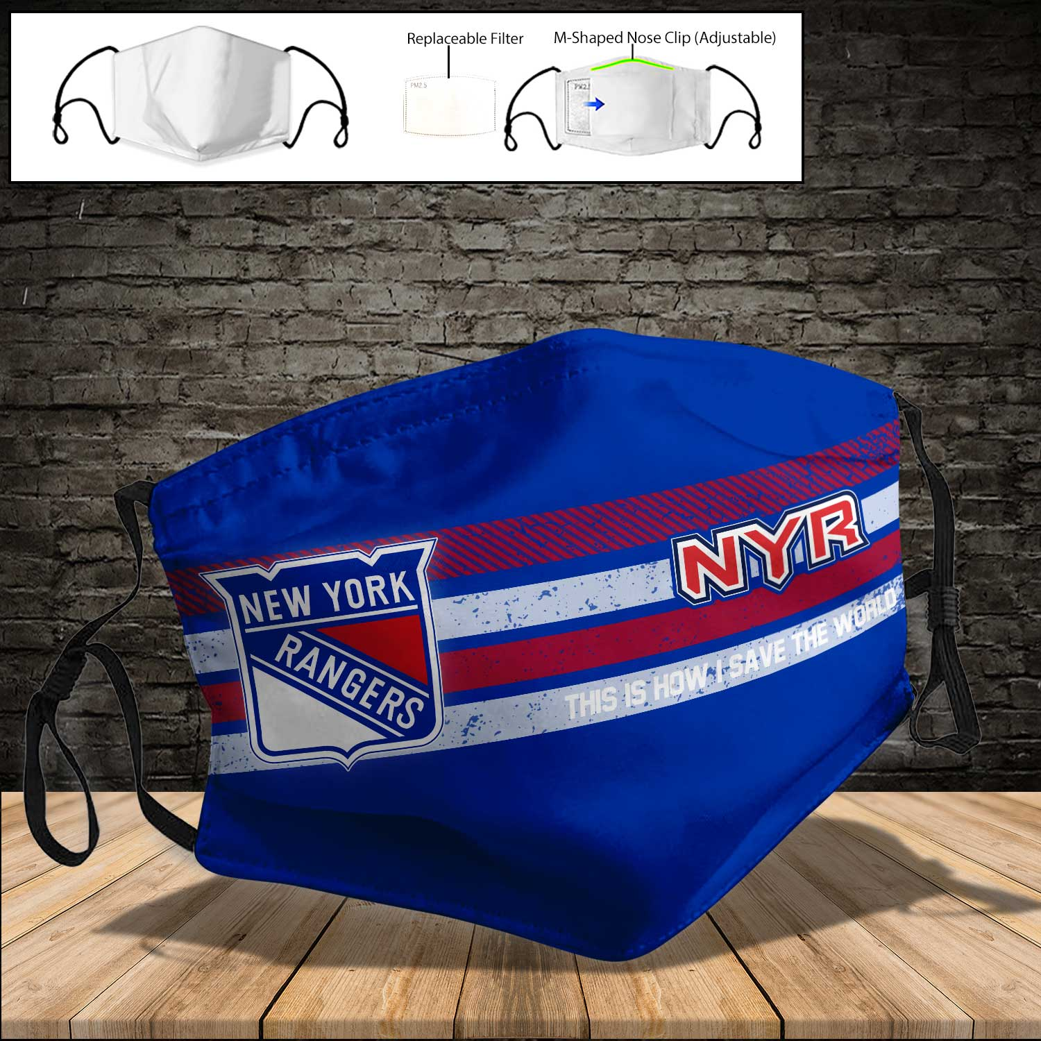 New york rangers this is how i save the world full printing face mask 3