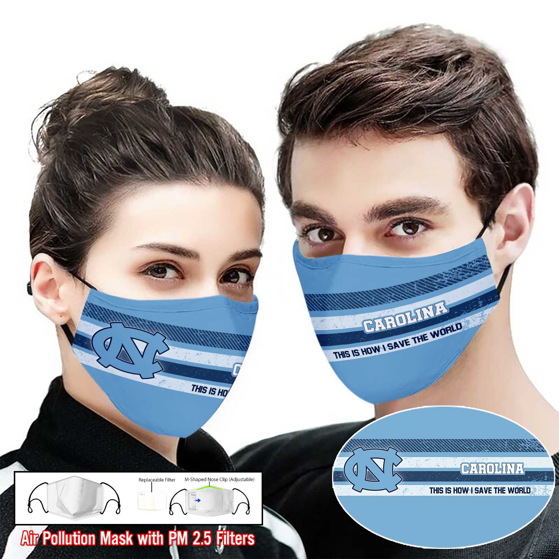 North carolina tar heels this is how i save the world full printing face mask 1