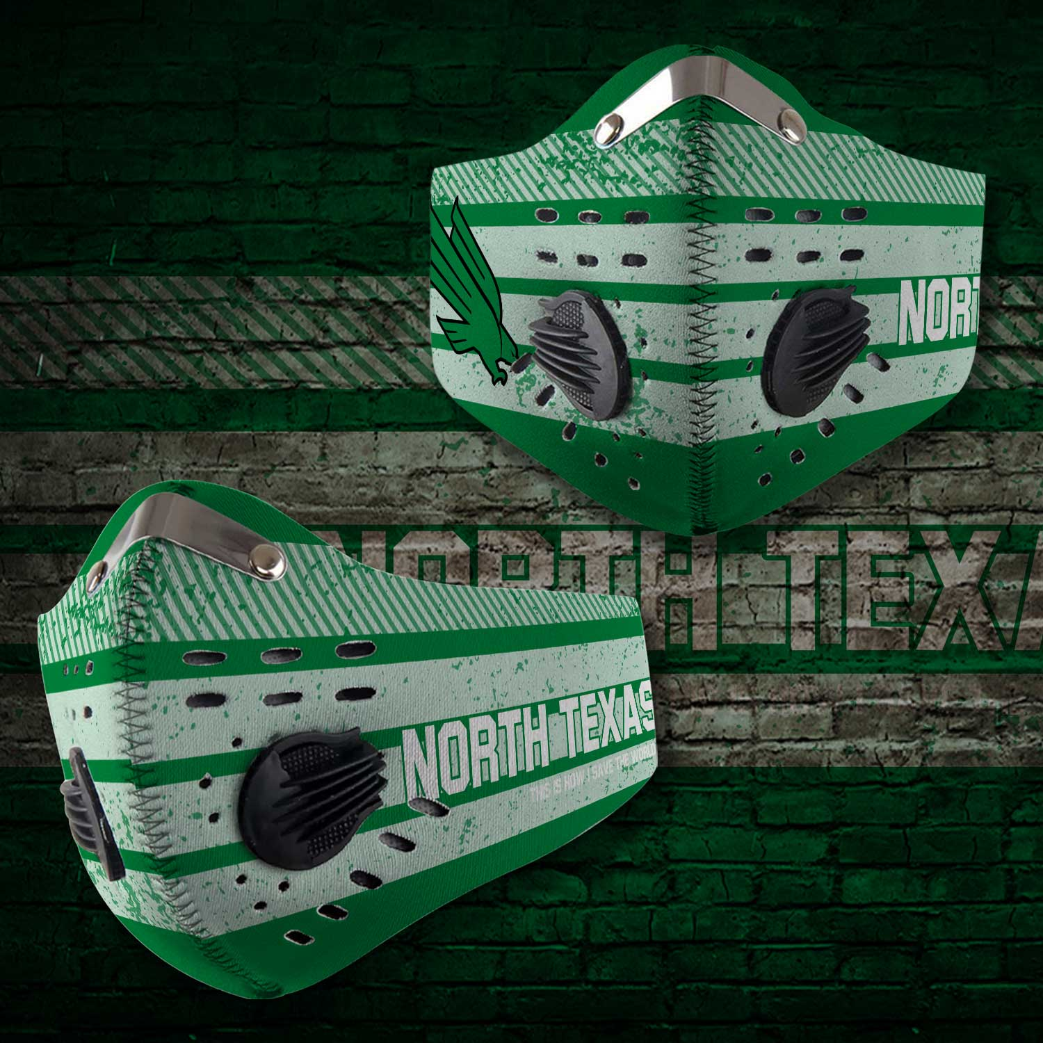 North texas mean green football carbon filter face mask 1