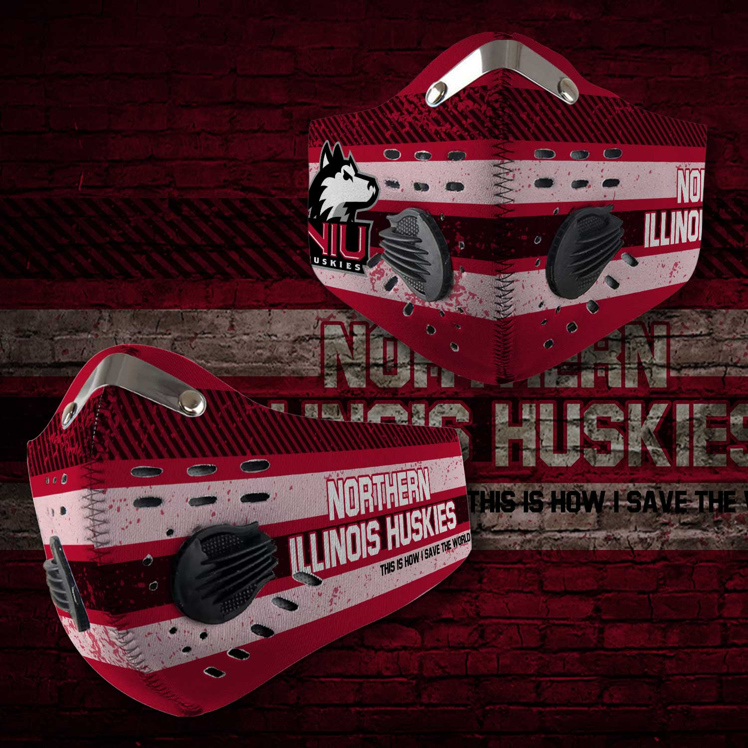 Northern illinois huskies this is how i save the world face mask 1
