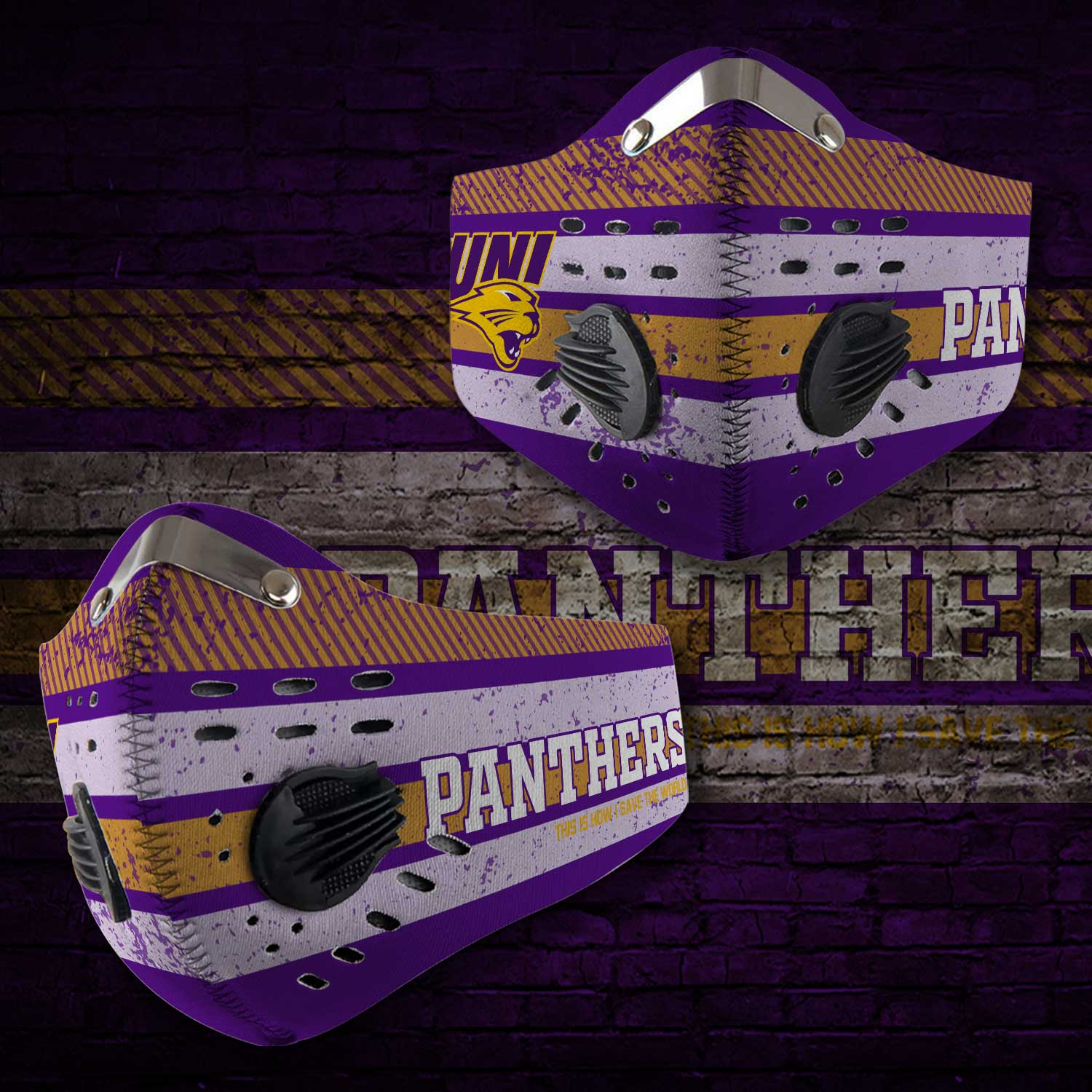 Northern iowa panthers this is how i save the world face mask 1