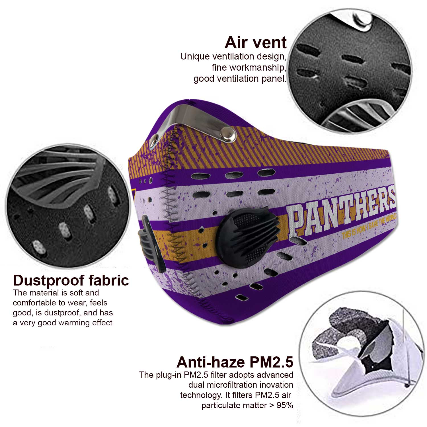Northern iowa panthers this is how i save the world face mask 4
