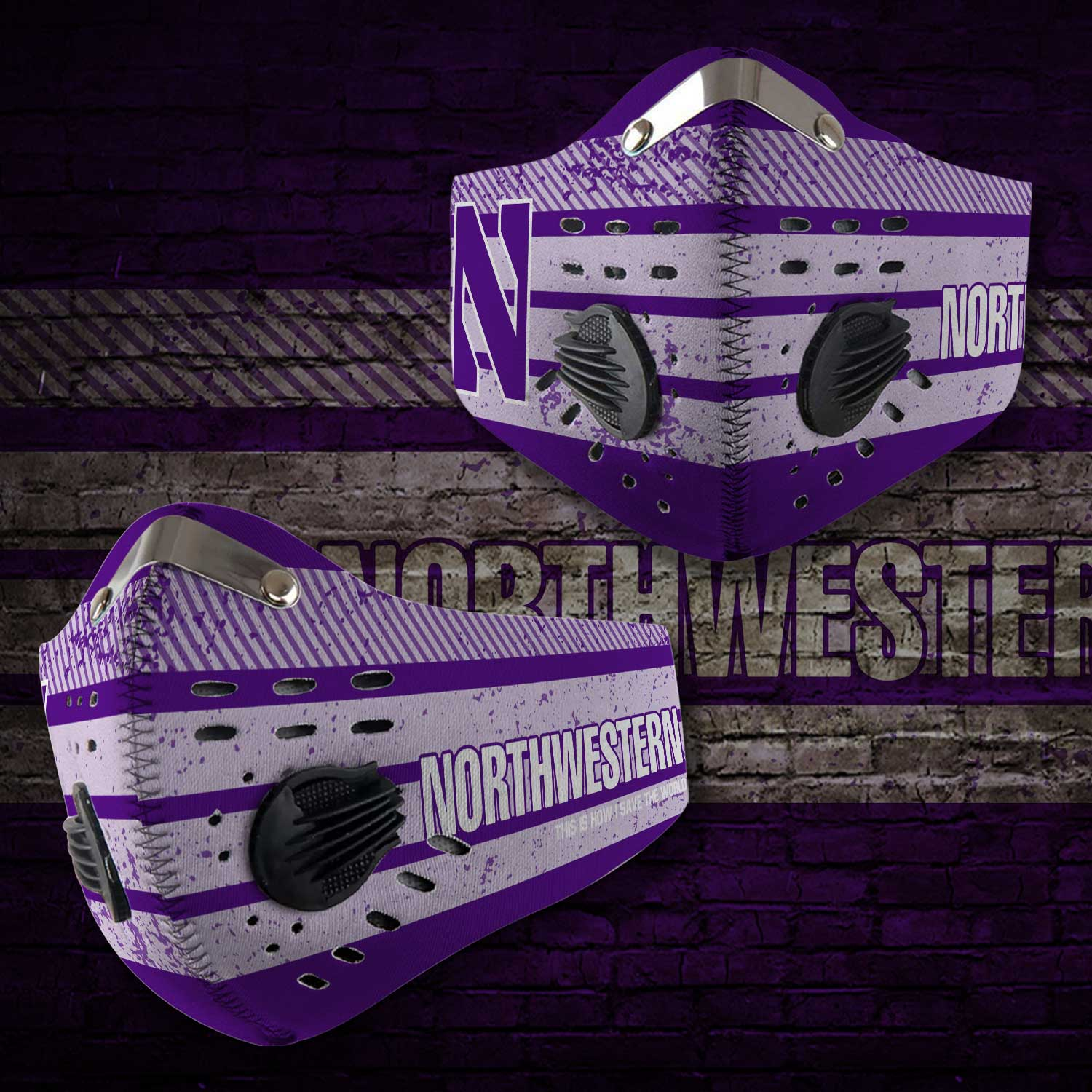 Northwestern wildcats this is how i save the world face mask 1