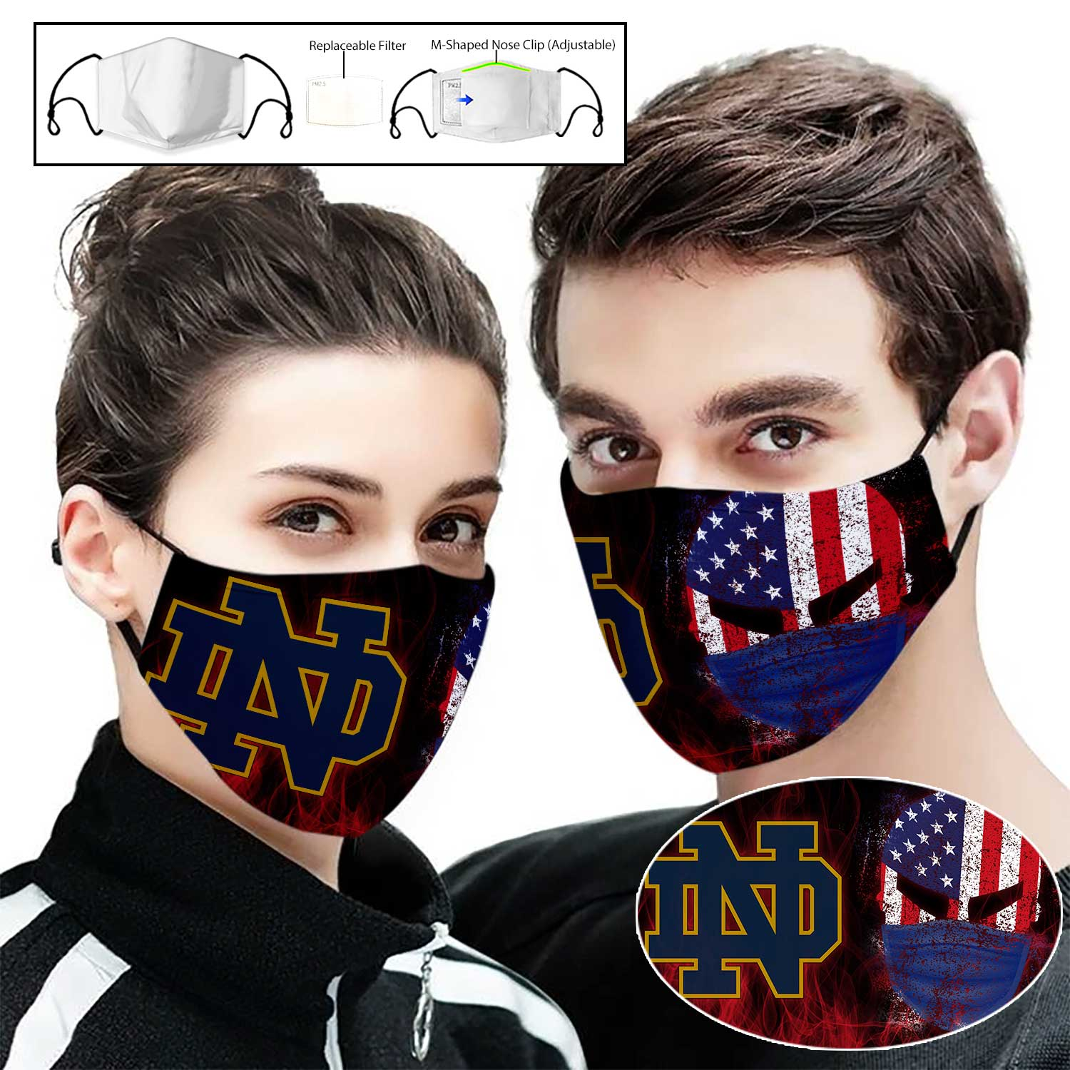 Notre dame fighting irish american warrior full printing face mask 2
