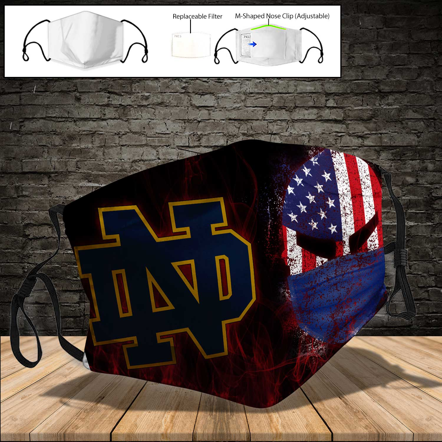 Notre dame fighting irish american warrior full printing face mask 3