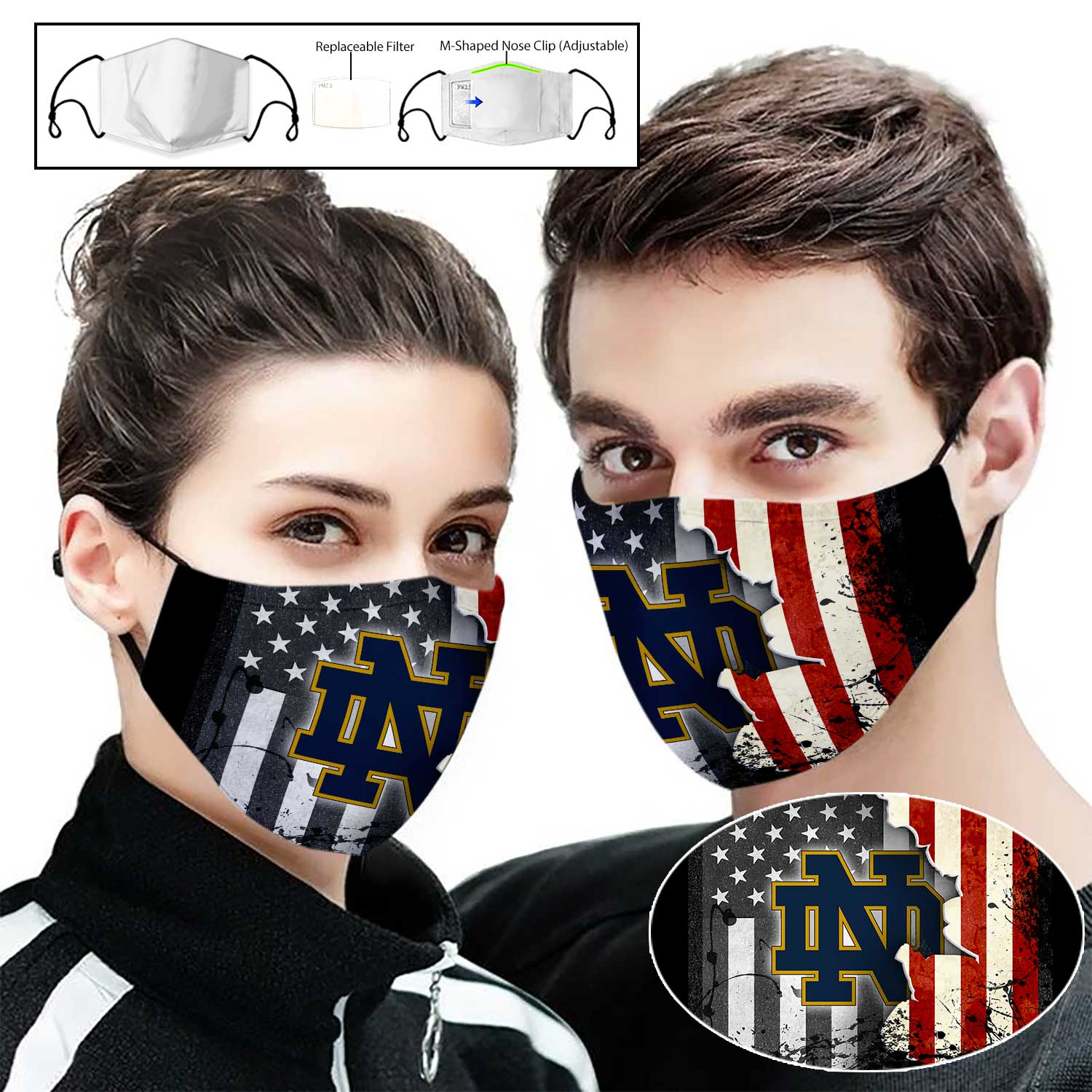 Notre dame fighting irish football american flag full printing face mask 2