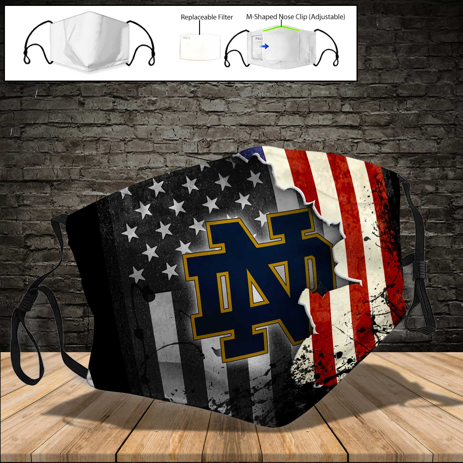 Notre dame fighting irish football american flag full printing face mask 3
