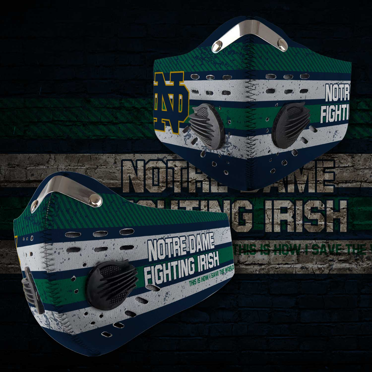 Notre dame fighting irish this is how i save the world face mask 2