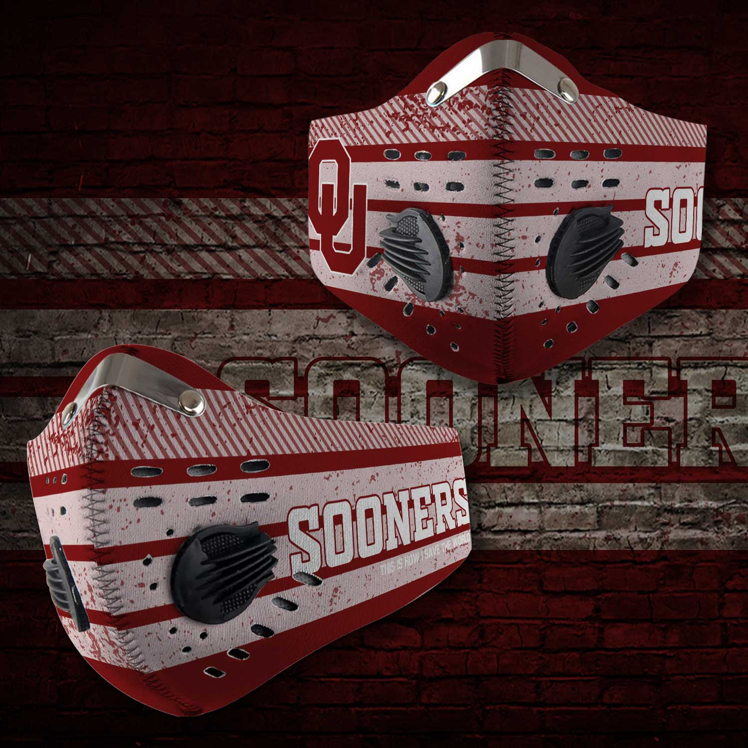 Oklahoma sooners this is how i save the world carbon filter face mask 2