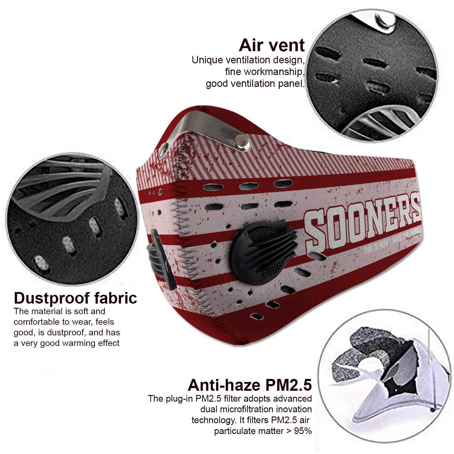 Oklahoma sooners this is how i save the world carbon filter face mask 3