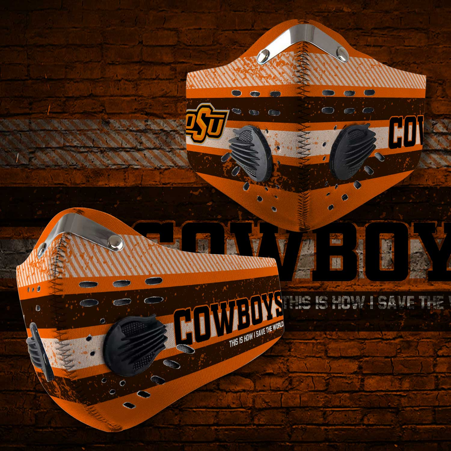 Oklahoma state cowboys this is how i save the world face mask 2