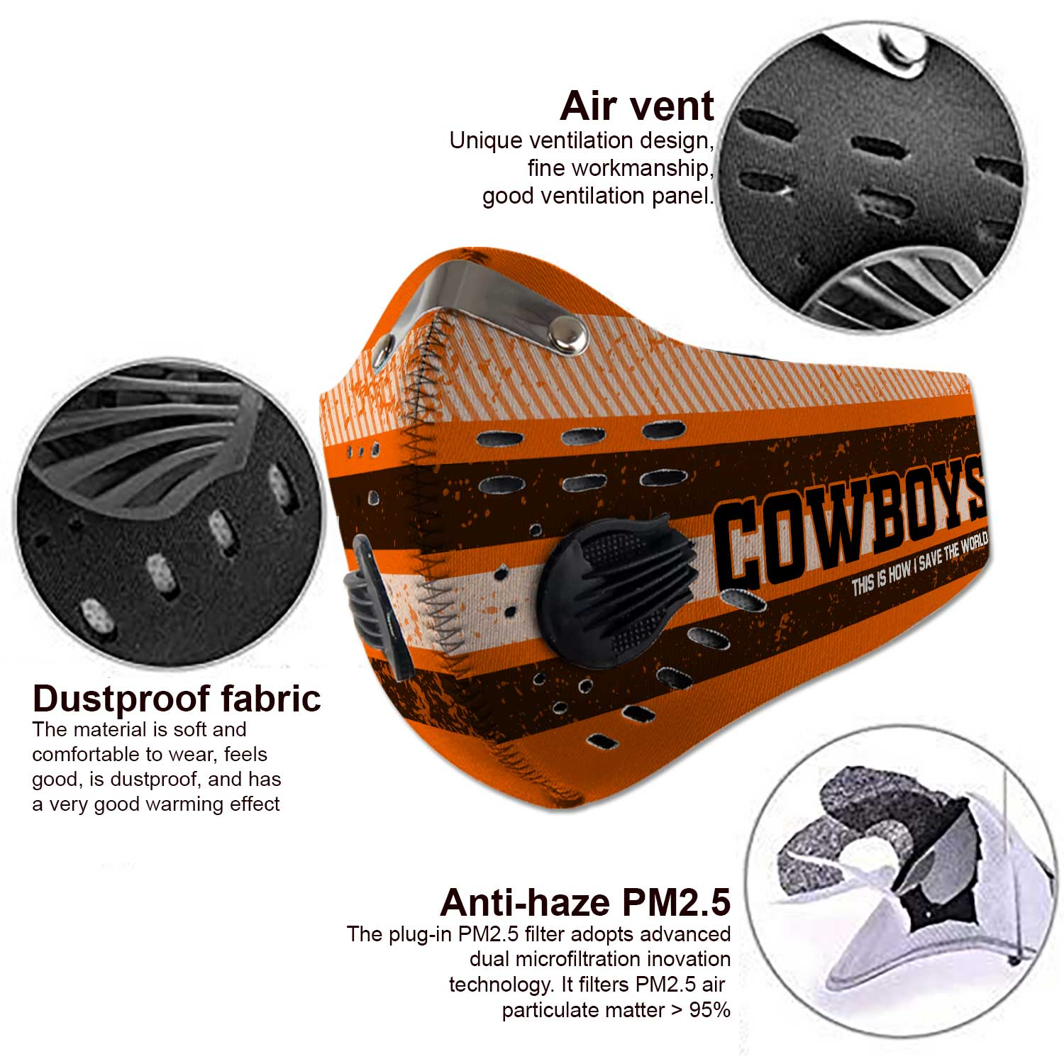 Oklahoma state cowboys this is how i save the world face mask 4