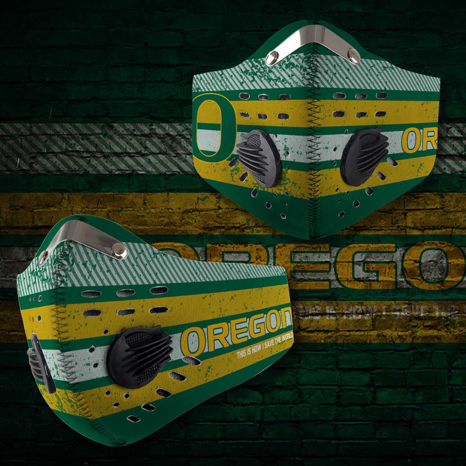 Oregon ducks this is how i save the world carbon filter face mask 2