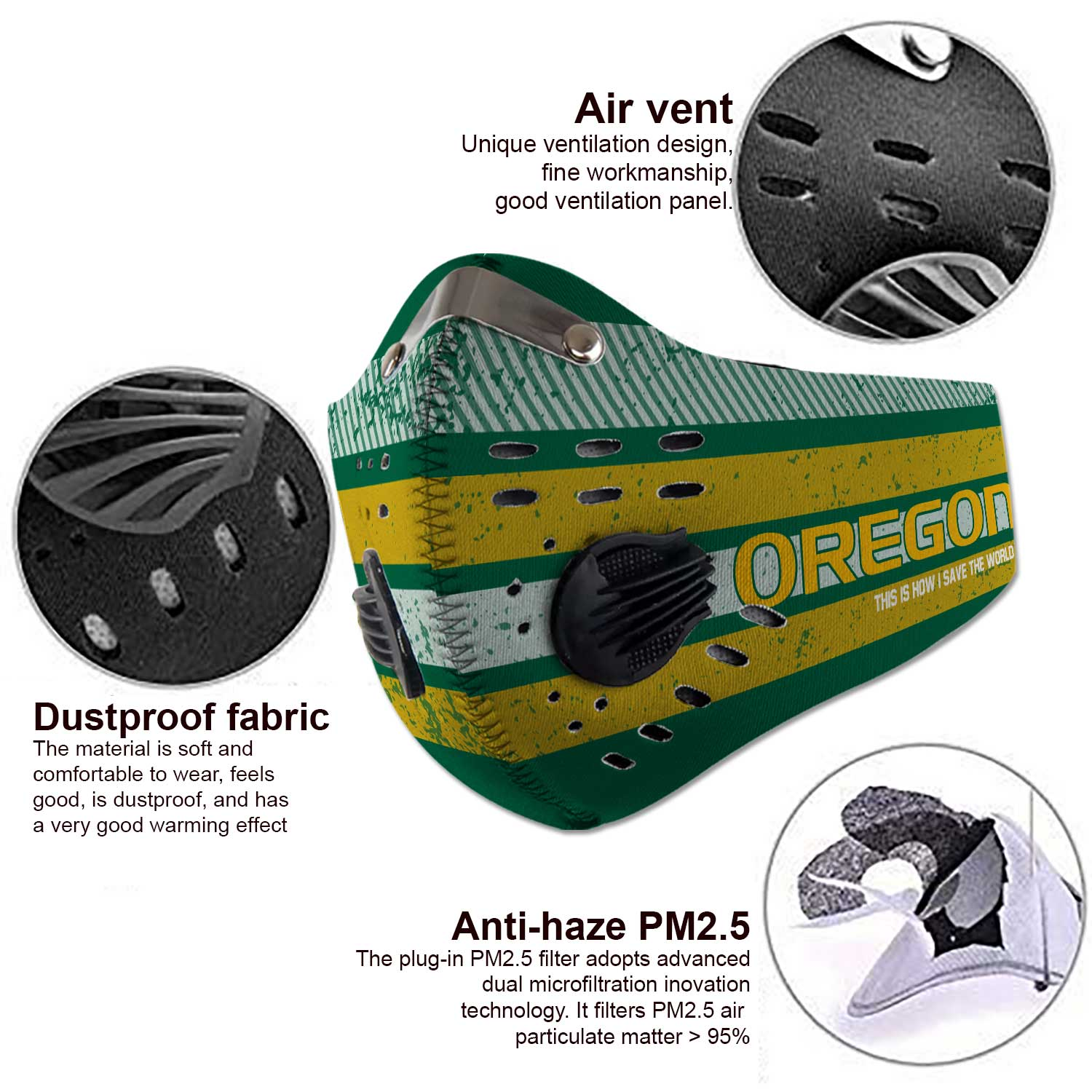 Oregon ducks this is how i save the world carbon filter face mask 4