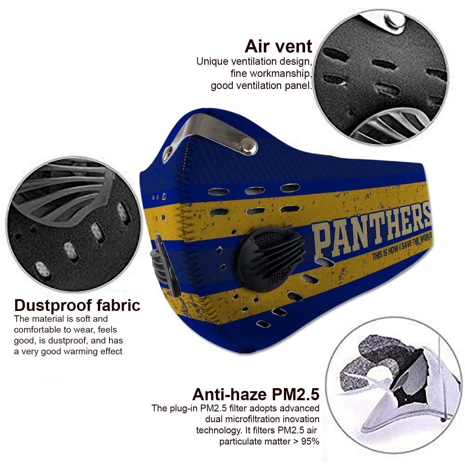 Pitt panthers this is how i save the world carbon filter face mask 4