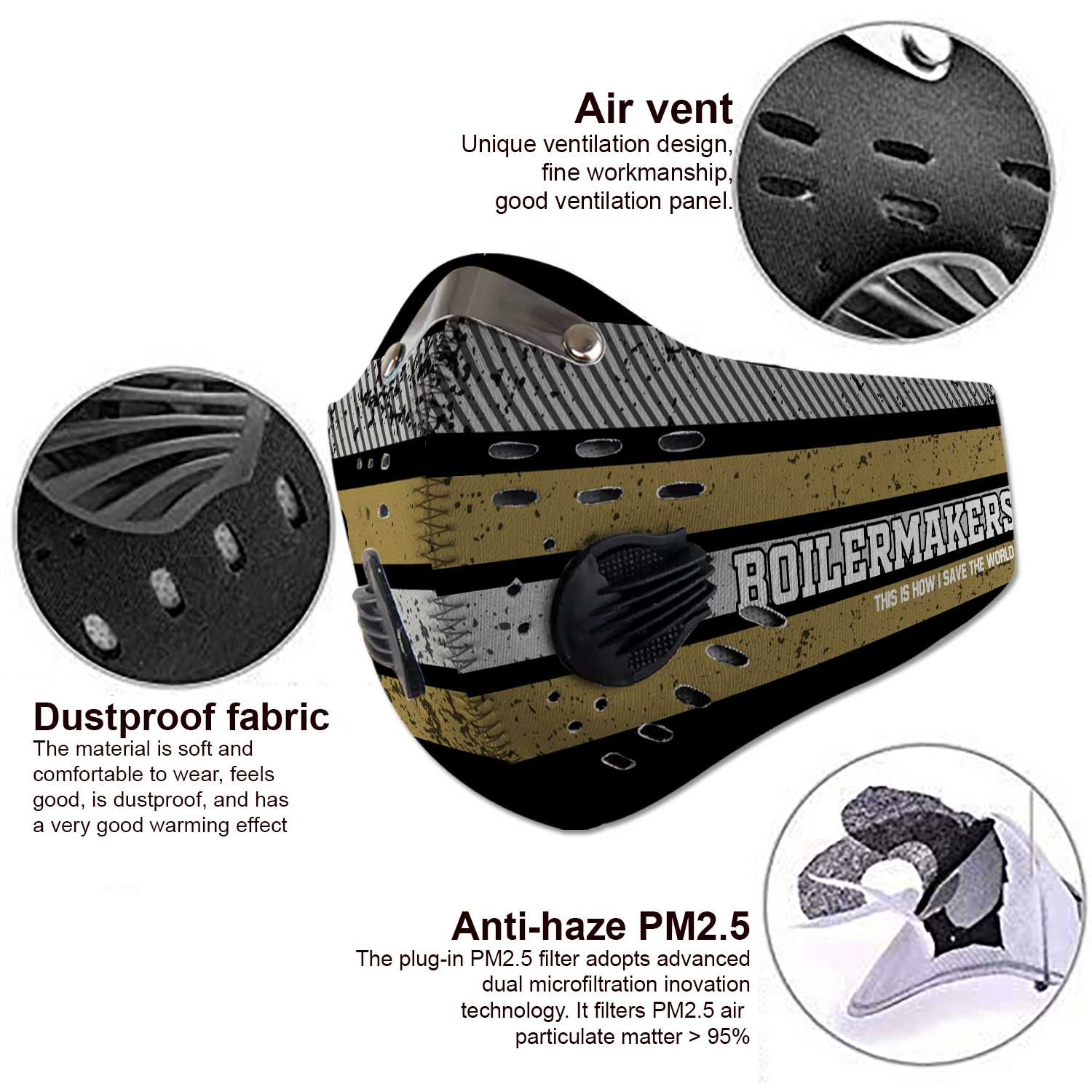 Purdue boilermakers this is how i save the world carbon filter face mask 3
