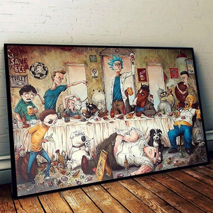 Rick and morty family guy the simpsons get drunk funny cartoon poster 2