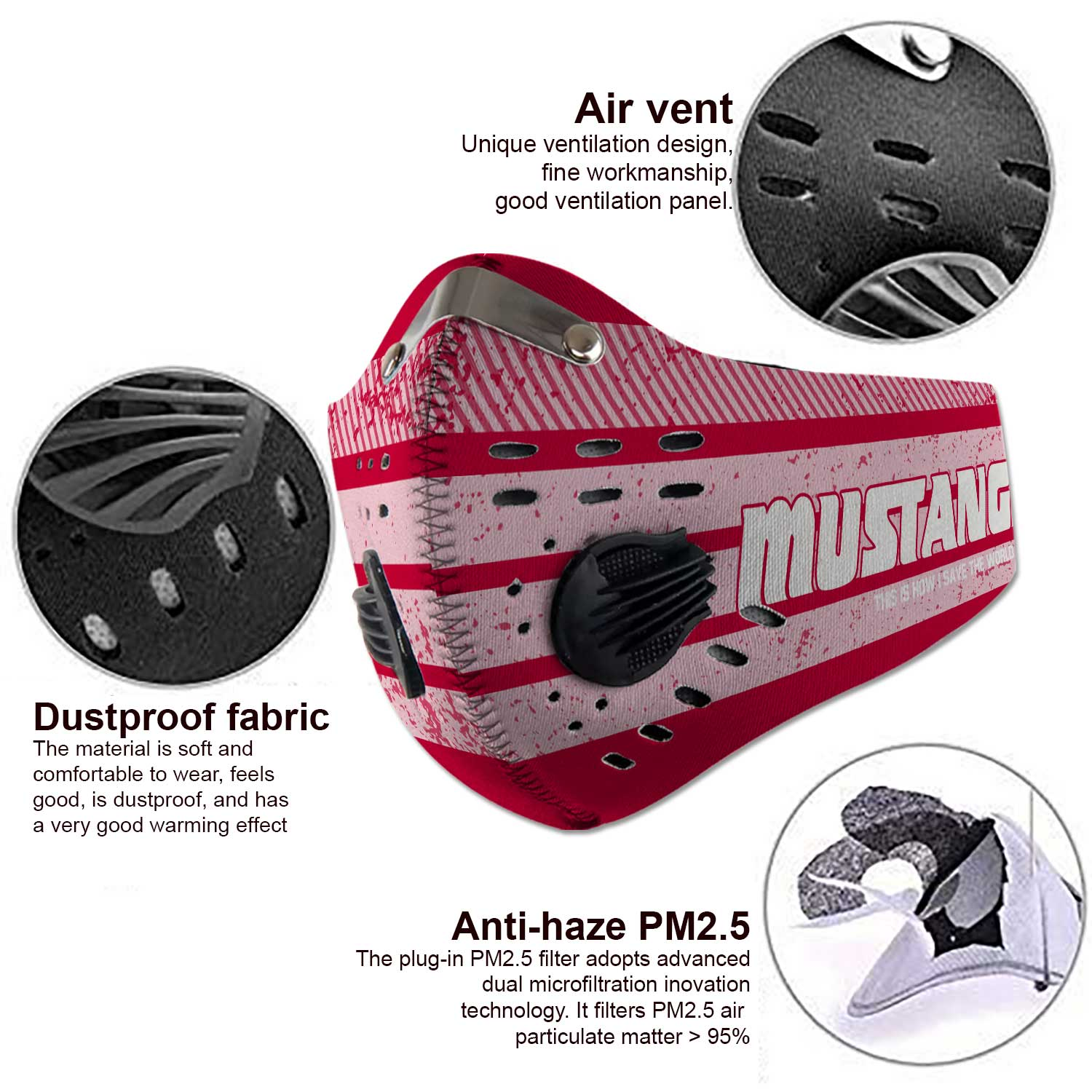 SMU mustangs this is how i save the world carbon filter face mask 4