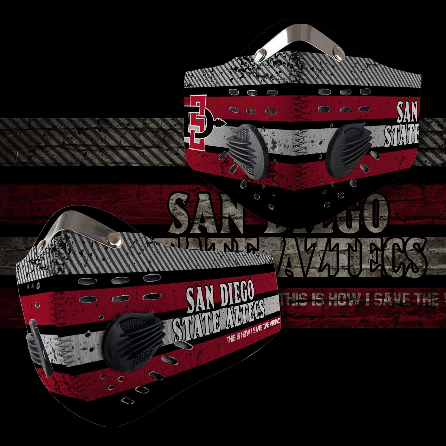 San diego state aztecs this is how i save the world face mask 2