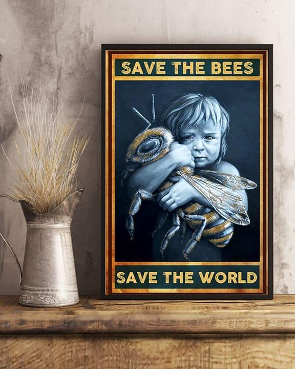 Save the bees save the world retro poster 1
