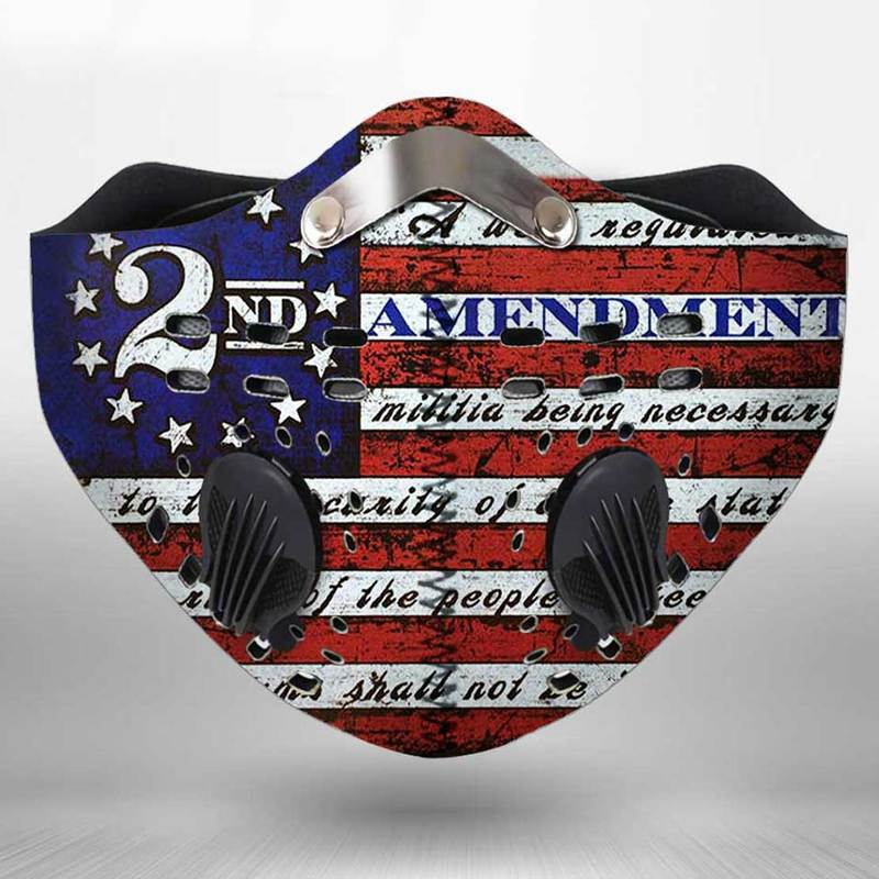 Second amendment flag anti pollution filter activated carbon face mask 2