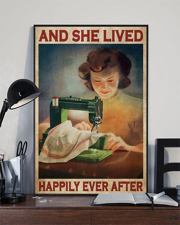 Sewing lady and she lived happily ever after for sewing lover vintage poster 1