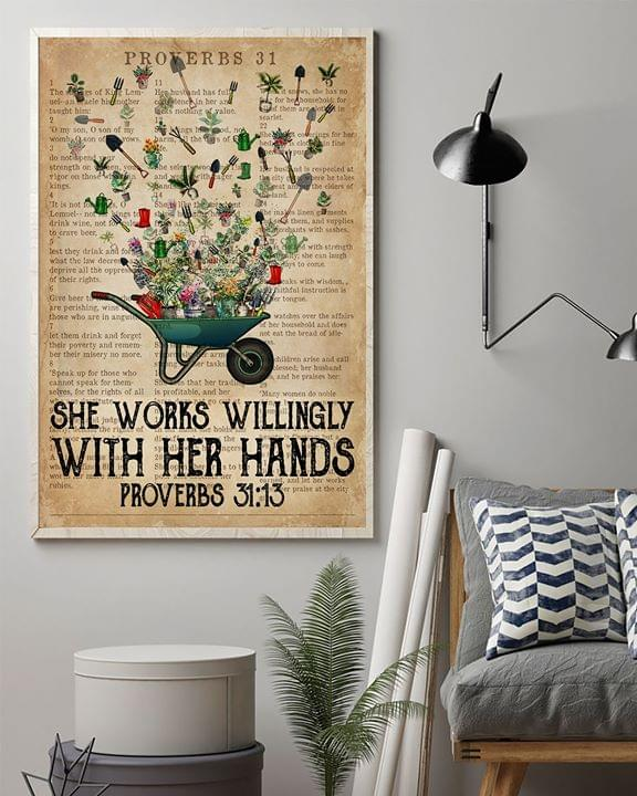 She works willingly with her hands proverbs 31 13 poster 1