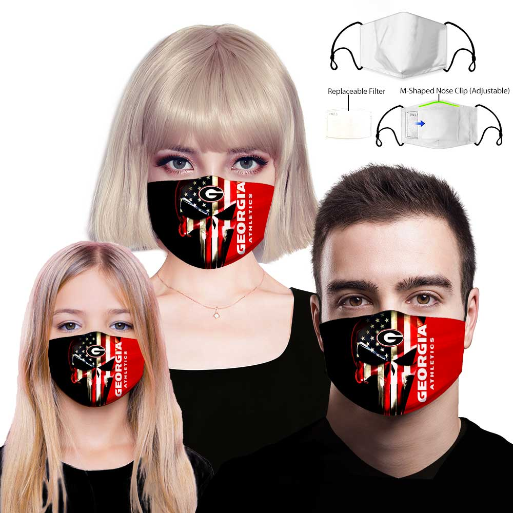 Skull georgia bulldogs american flag full printing face mask 1