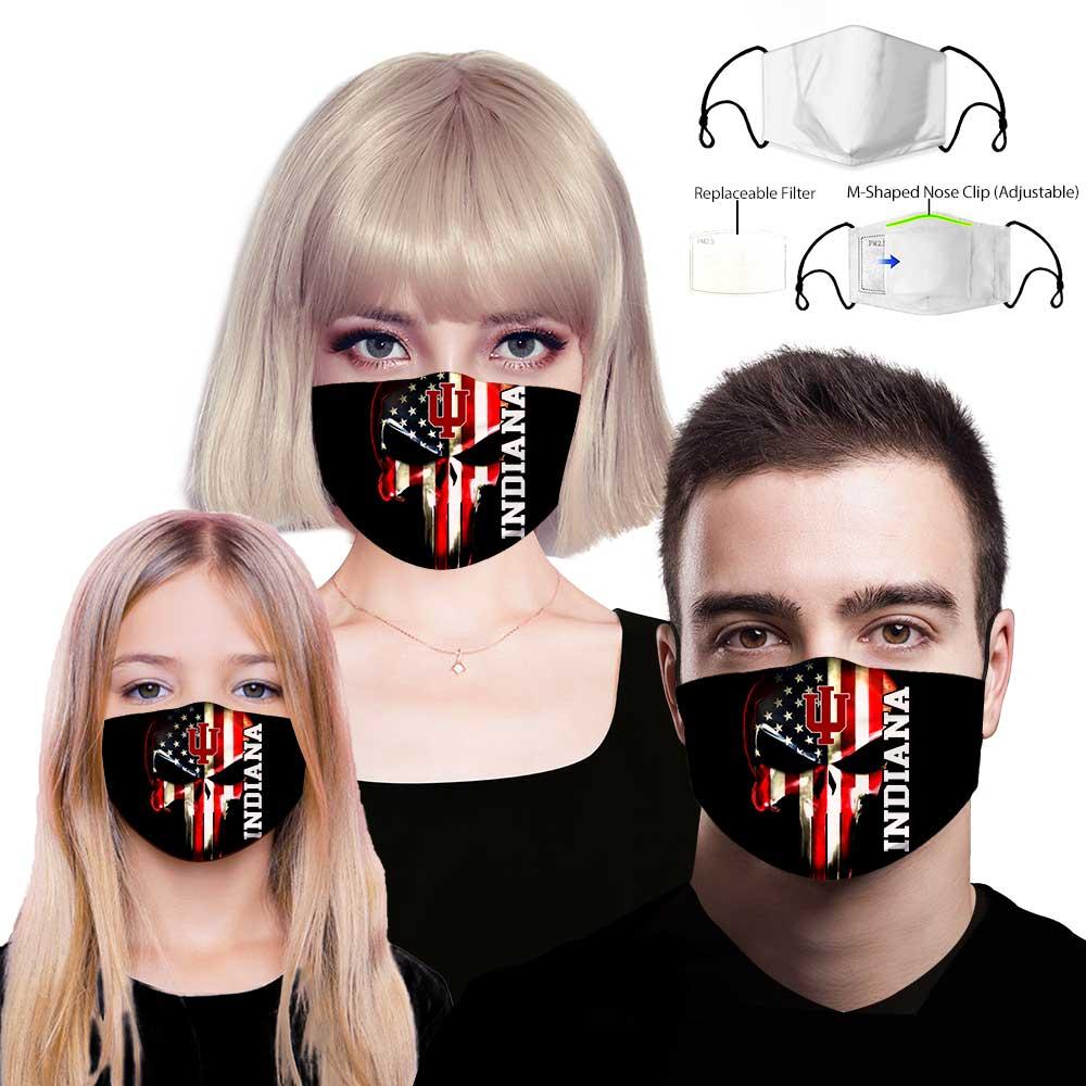 Skull indiana hoosiers american flag full printing face mask 2