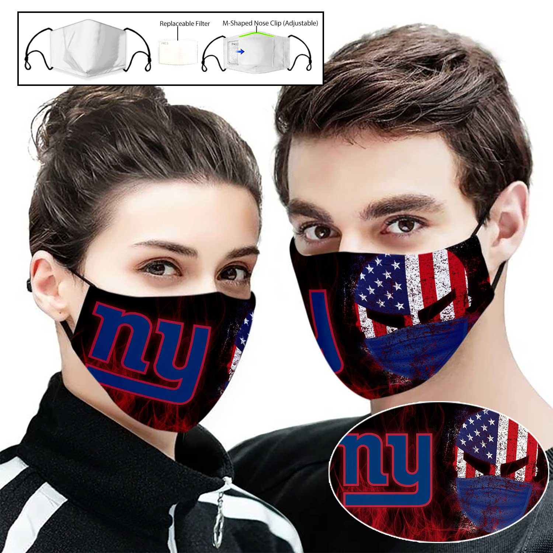 Skull new york giants american flag full printing face mask 1