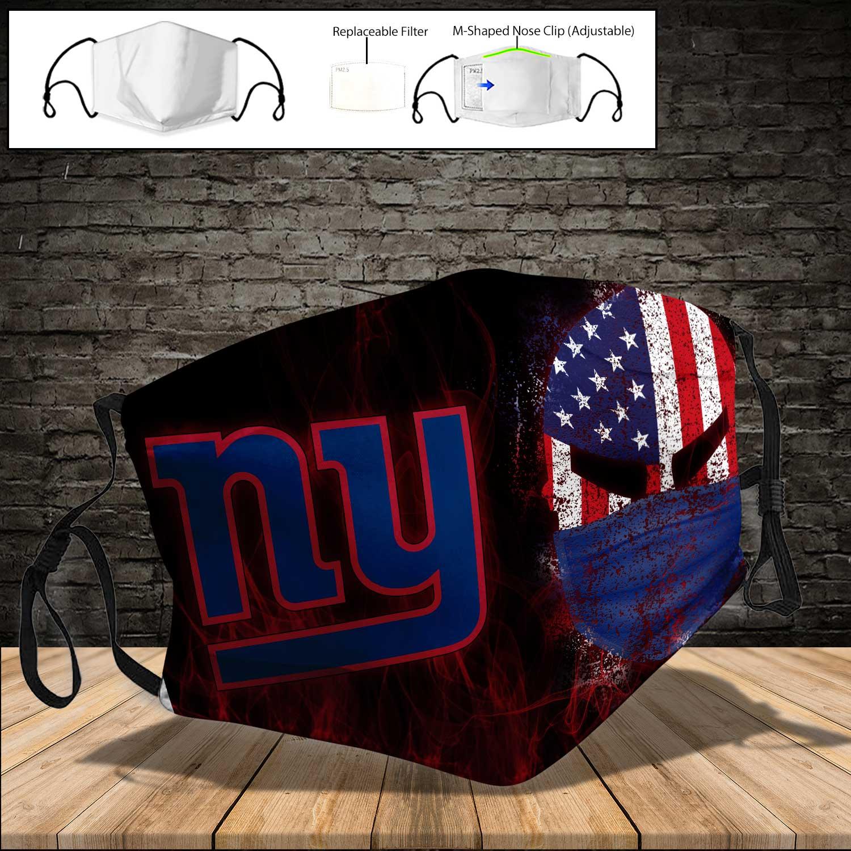 Skull new york giants american flag full printing face mask 3