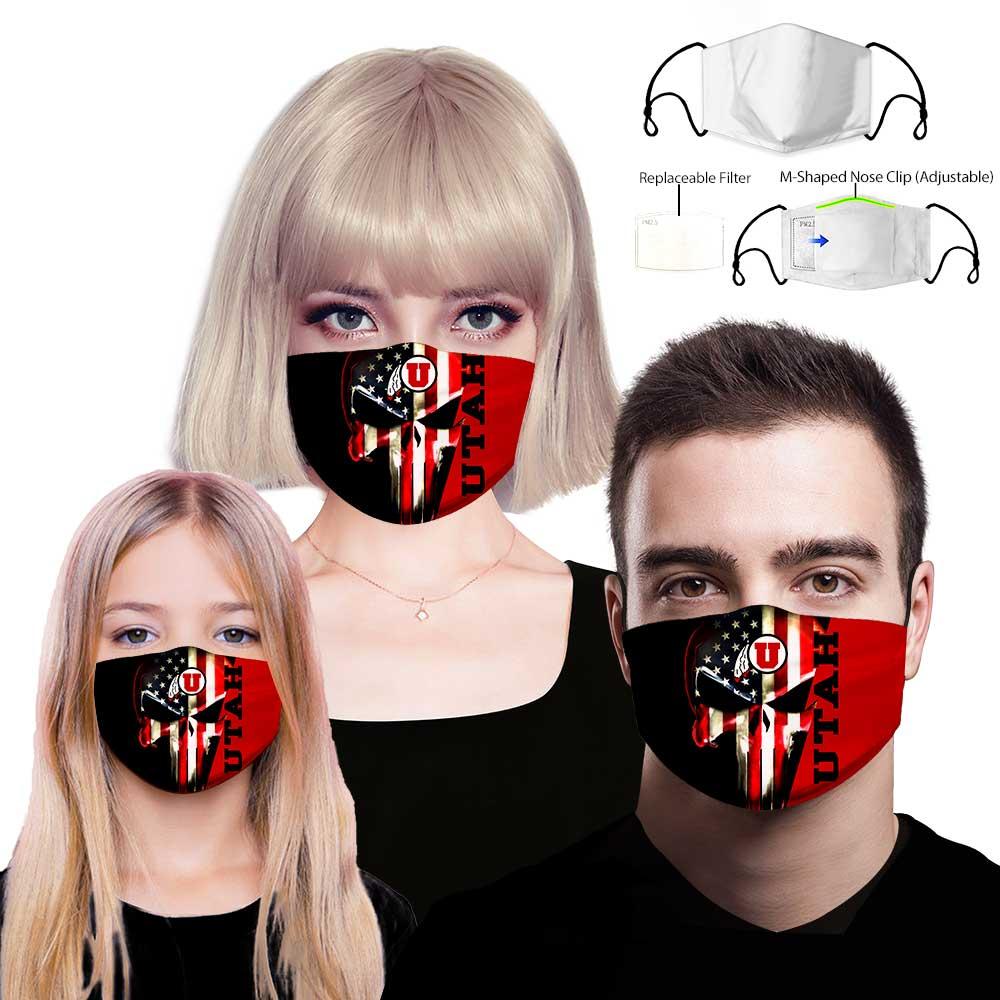 Skull utah utes american flag full printing face mask 1