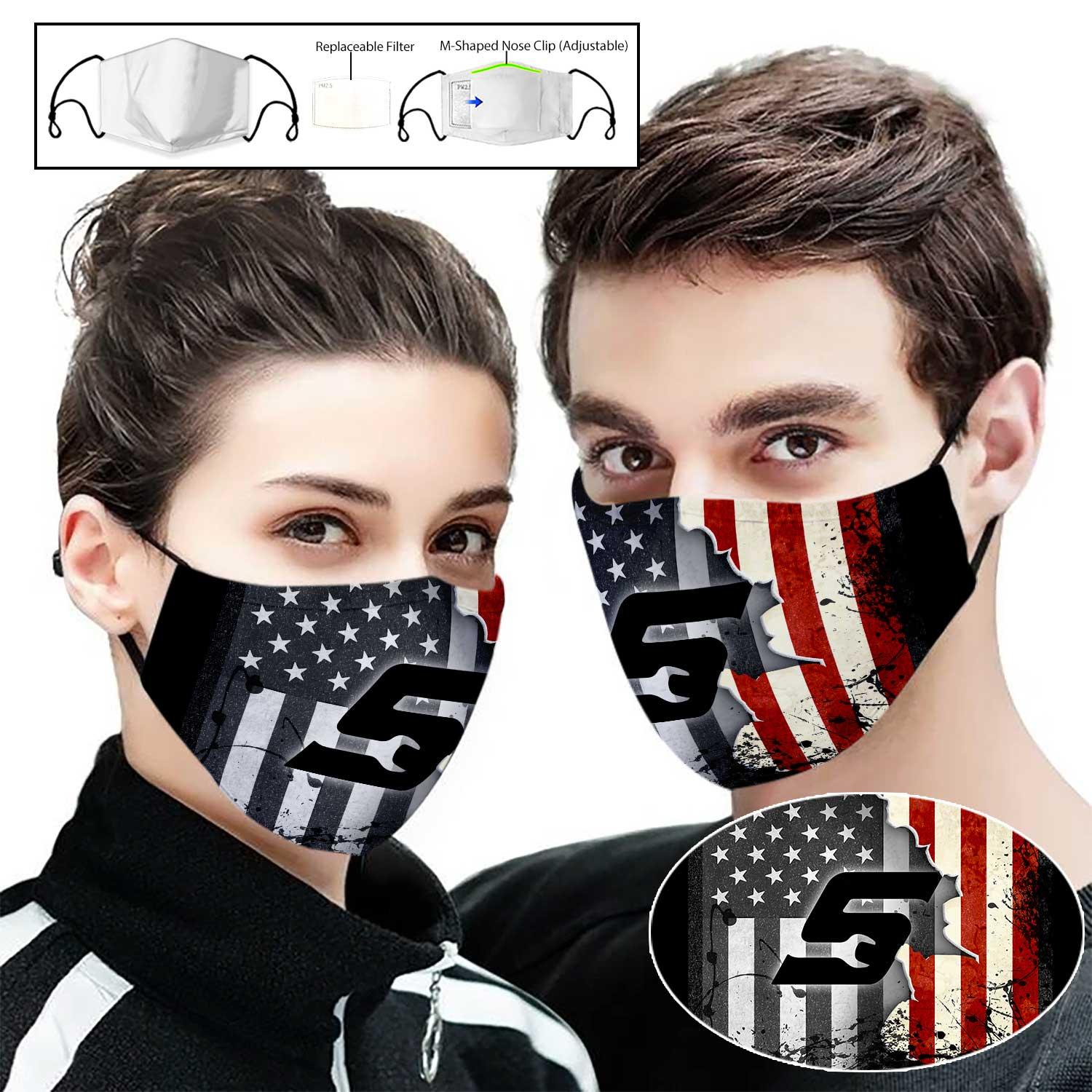 Snap on american flag full printing face mask 1