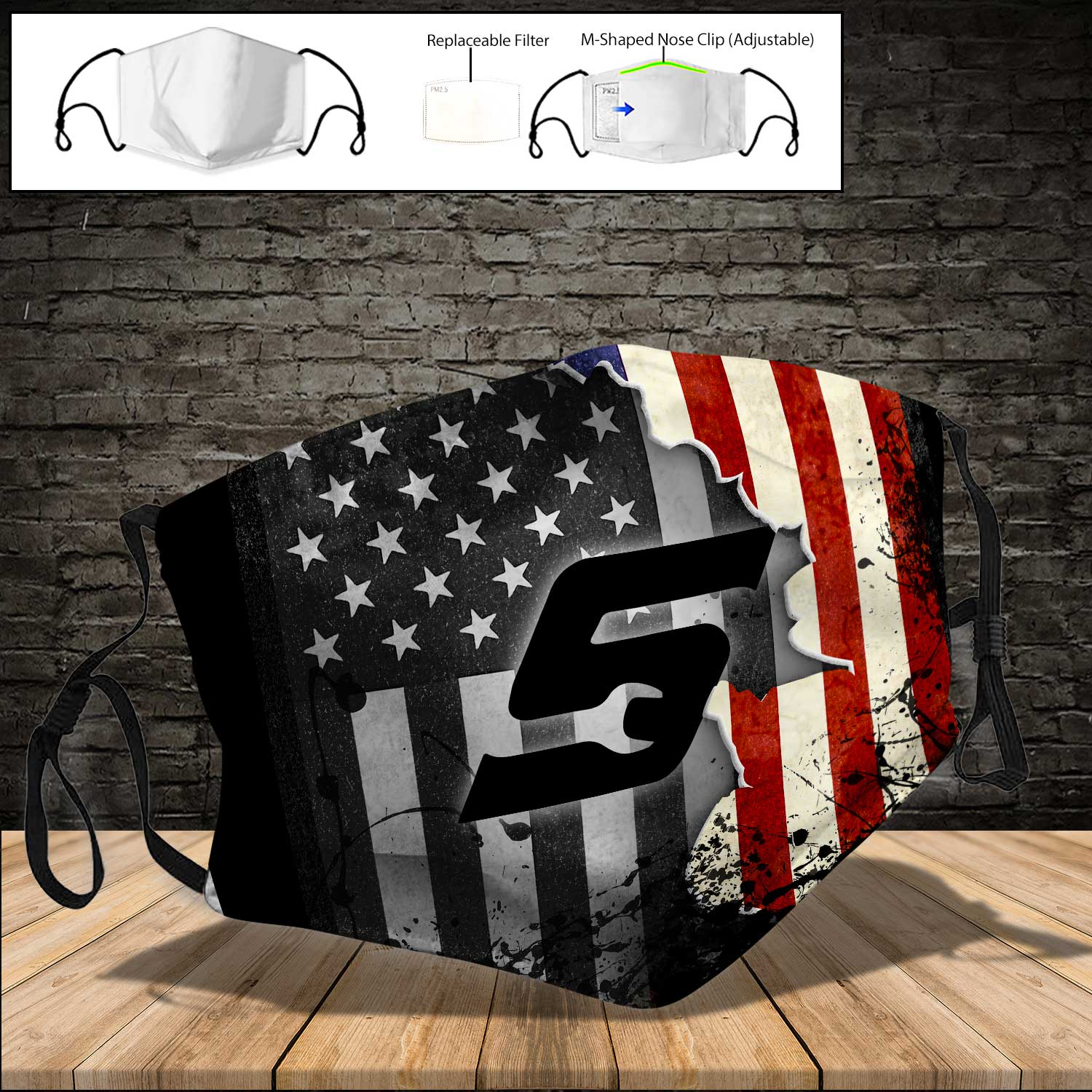 Snap on american flag full printing face mask 3