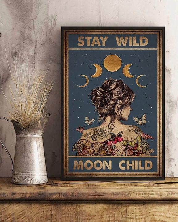 Stay wild moon child tattoo girl butterfly retro poster 1