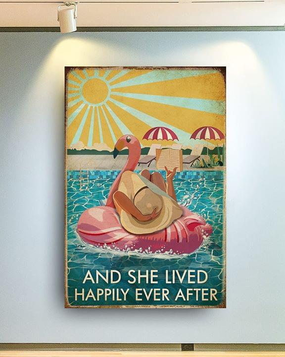 Sunbathing lady and she lived happily ever after summer vibe vintage poster 1
