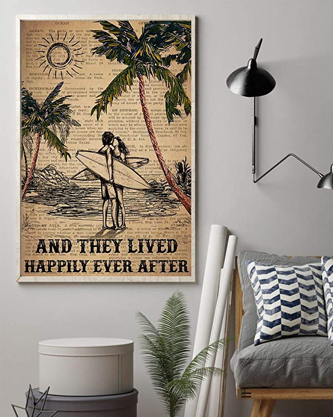 Surfing and they lived happily ever after surfing couple dictionary poster 1