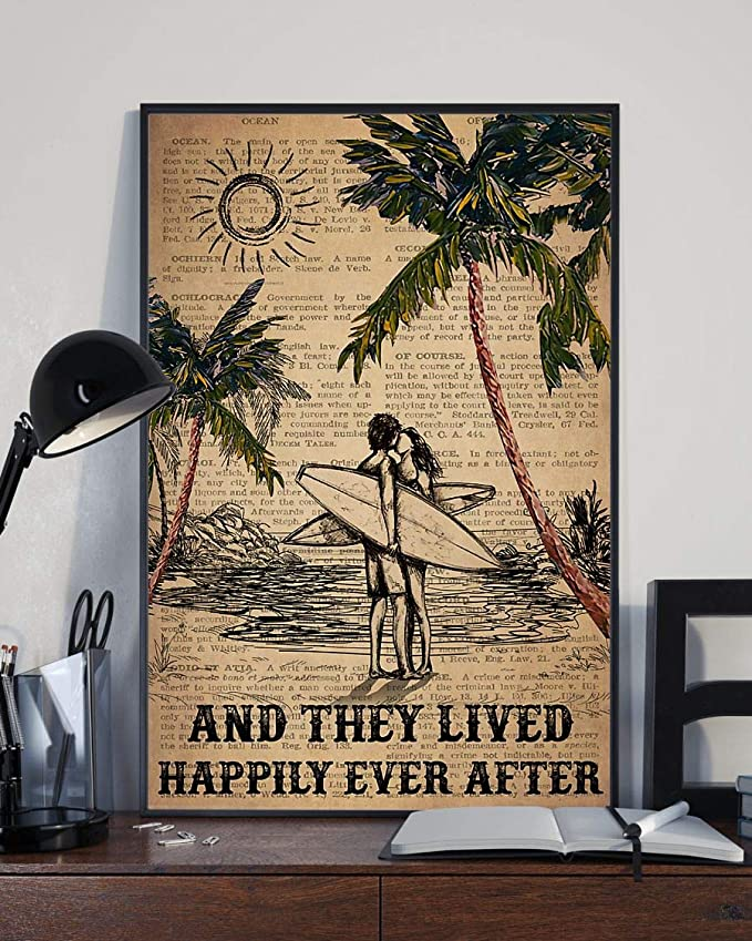 Surfing and they lived happily ever after surfing couple dictionary poster 4