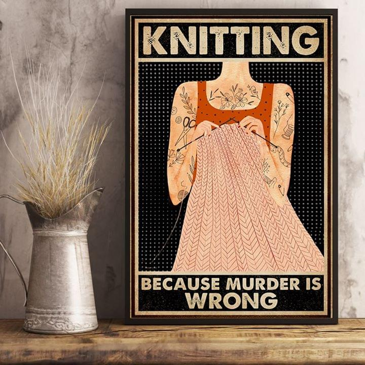 Tattoo girl knitting because murder is wrong retro poster 1